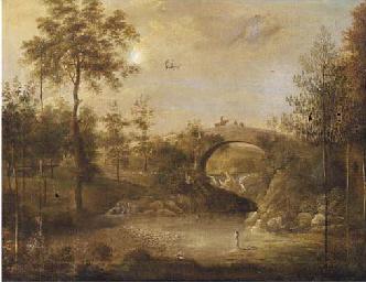 Figures bathing under a bridge