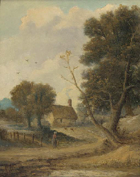 A figure before a cottage in a