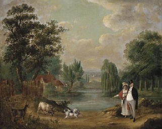 An elegant couple walking with