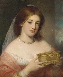 A lady with a casket