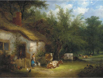 A milkmaid and cattle by a cot