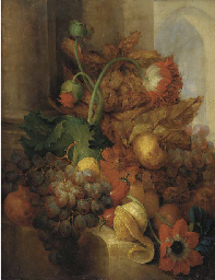 Grapes, pears, plums, apples,
