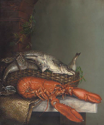 Whiting, a lobster and oysters