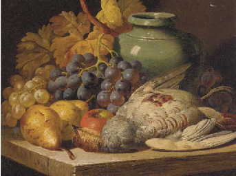 Grapes, pears, an apple, a jug