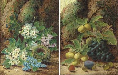 Primroses and apple blossom, a