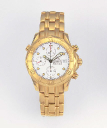 OMEGA, AN 18ct. GOLD AUTOMATIC CALENDAR WRISTWATCH WITH CHRONOGRAPH signed...