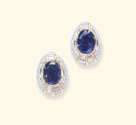 AN IMPRESSIVE PAIR OF SAPPHIRE AND DIAMOND EAR CLIPS, BY CHAUMET
