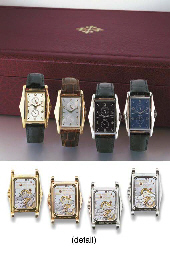 PATEK PHILIPPE. A VERY RARE SET OF FOUR RECTANGULAR WRISTWATCHES WITH...
