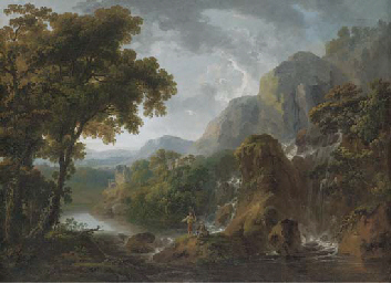 A wooded mountainous river landscape with anglers by a waterfall in the foreground, a ruined tower house in the distance