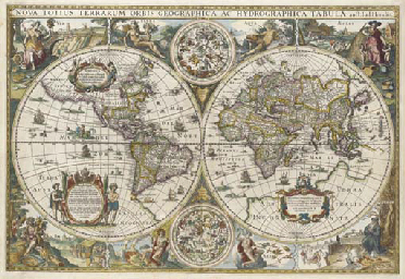 hondius, jodocus (1594-1629).  <i>nova totius terrarum orbis geographica ac hydrographica tabula,</i> [amsterdam:] 1617. hand-coloured engraved twin-hemisphere world map, symbols of the four seasons and elements in each corner, 2 celestial globes (some minor repairs on verso), 393 x 582mm. second state. shirley 296; wagner 274.