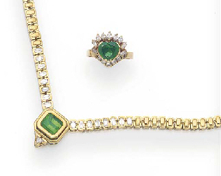 AN EMERALD AND DIAMOND NECKLACE BY H. STERN AND AN EMERALD AND DIAMOND RING