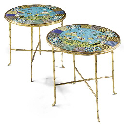 A PAIR OF CHINESE CLOISONNE ENAMEL AND ORMOLU CIRCULAR OCCASIONAL TABLES
