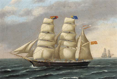 The Spanish three-masted barque Ignacio Fuster under full sail
