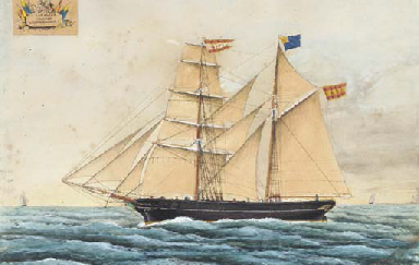The Spanish brigantine Catalina at sea