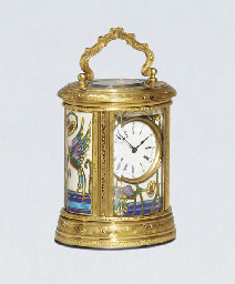 A French engraved brass and cloisonné enamel miniature carriage timepiece