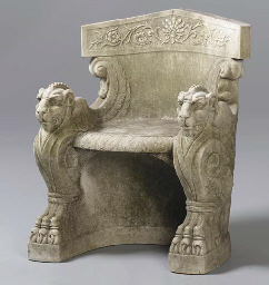 A White Marble Throne Late 19th Early 20th Century