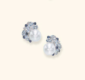 A PAIR OF CULTURED PEARL AND M