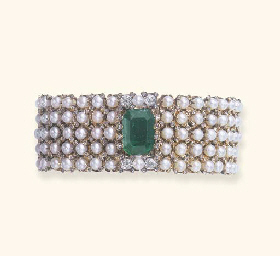 AN ANTIQUE EMERALD, PEARL AND