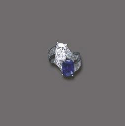 A DIAMOND AND SAPPHIRE TWIN-ST
