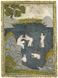 FIVE WOMEN BATHING IN A LAKE