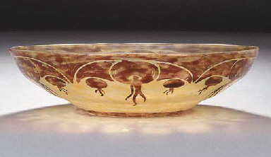 A shallow cameo glass bowl