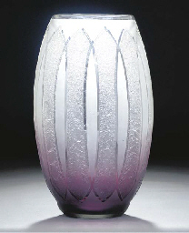 An acid-etched glass vase