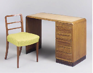 A WALNUT DESK AND CHAIR