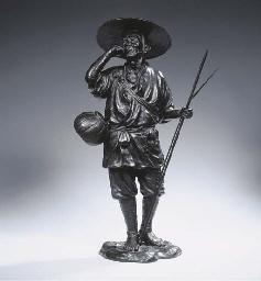 A large bronze figure of a far