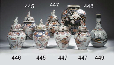 Three imari baluster jars and
