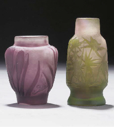 TWO MINIATURE CAMEO GLASS VASE