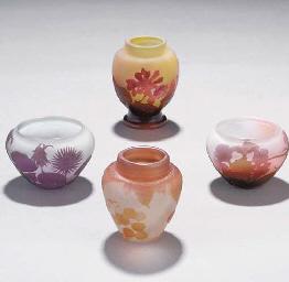 FOUR MINIATURE CAMEO GLASS VAS