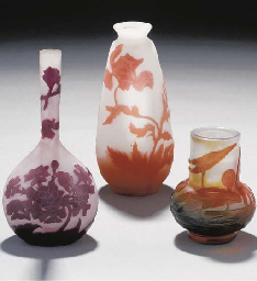 THREE CAMEO GLASS VASES