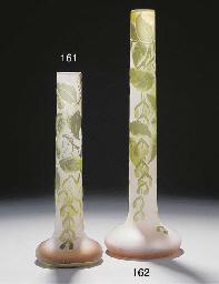 A CAMEO GLASS TUBE VASE