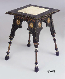 AN INLAID TABLE AND TWO STOOLS