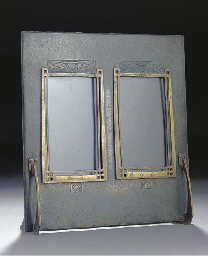A PATINATED BRASS DOUBLE PICTU