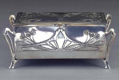 A SILVERED METAL BOX