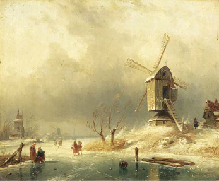 Winter: figures on the ice by