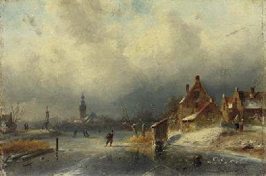 Figures on the ice by a Dutch