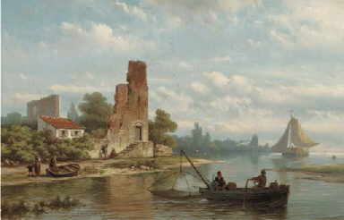 Fishermen near a ruin on a riv