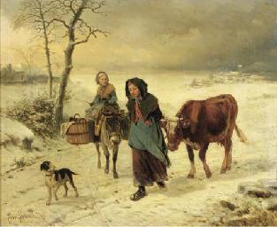 Farmgirls on a path in winter