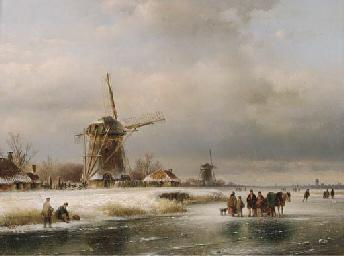 Figures on a frozen waterway w
