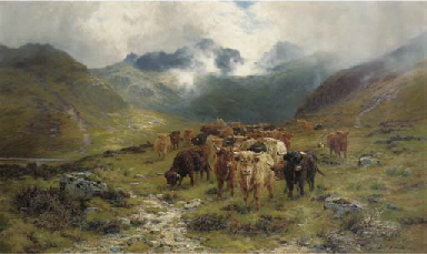 Highland cattle and drovers in