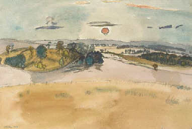 Landscape with Red Sun