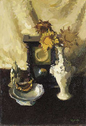 Still life with clock and flow