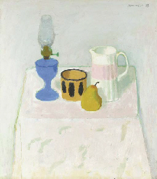 White still life with blue lam