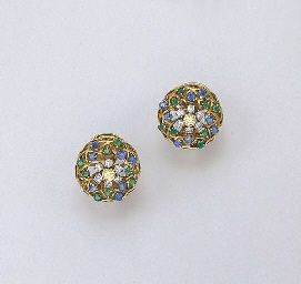 A PAIR OF MULTI-GEM EAR CLIPS
