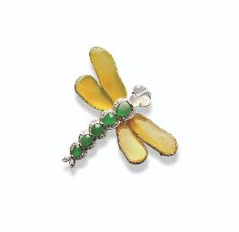 A JADEITE AND DIAMOND DRAGONFL