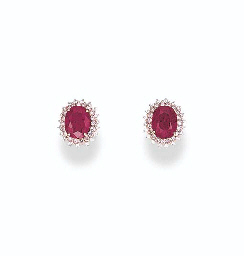 A PAIR OF RUBY, DIAMOND AND PI