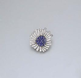 A SAPPHIRE AND DIAMOND FLOWERH