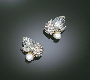 A PAIR OF CULTURED PEARL, ROCK